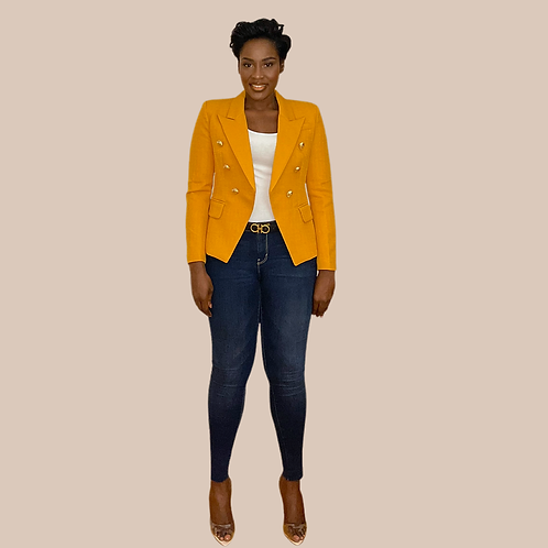 Mustard Yellow Textured Double Breasted Blazer