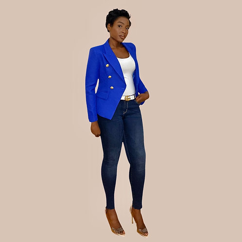 Royal Blue Textured Double Breasted Blazer