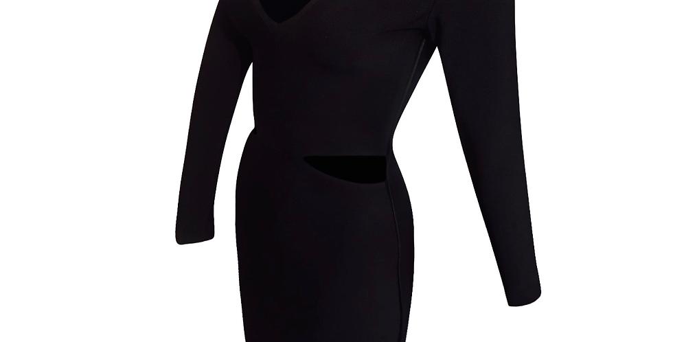 Cut Out Black V Neck Midi Premium Bandage side stripe dress