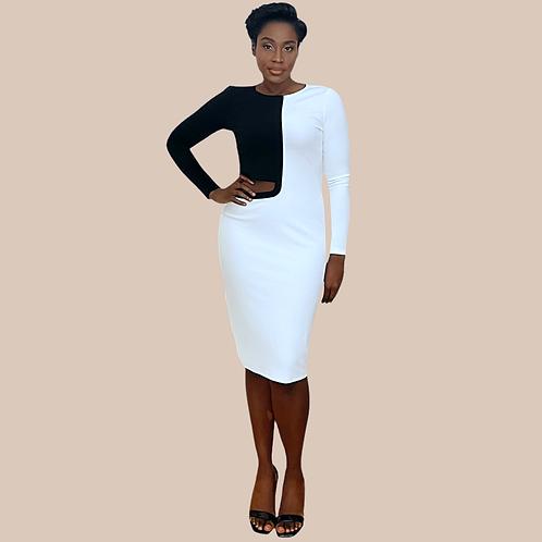 White Cut Out Midi Dress