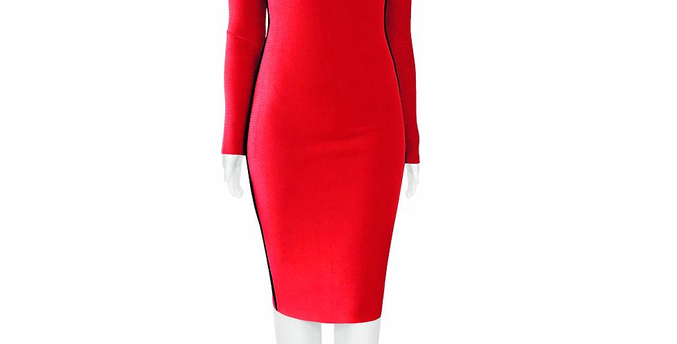 Red V neck Midi Premium Bandage dress