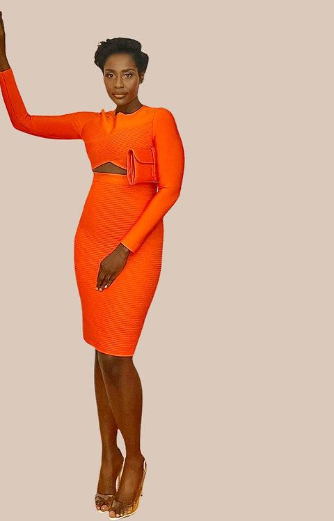 Orange Bandage Striped Dress