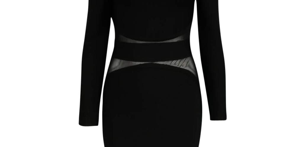 Black Sheer Insert Premium Bandage Midi dress