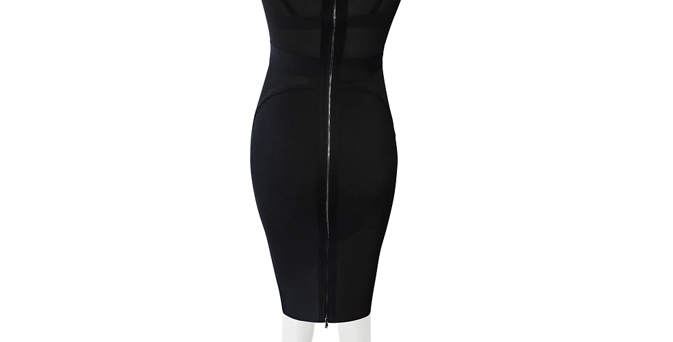 White/Black Sheer Insert Premium Bandage Midi dress