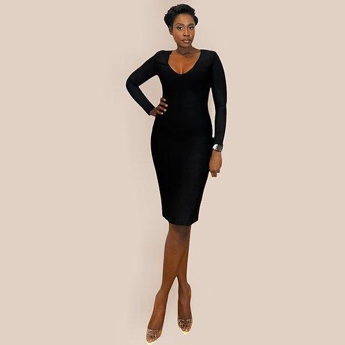 Black V Neck Midi Bandage Dress