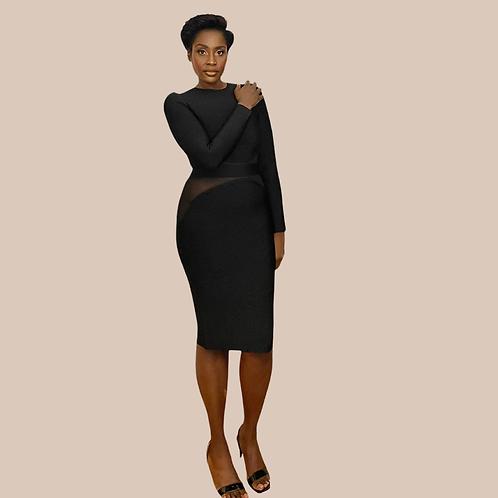 Black Sheer Insert Midi Bandage dress