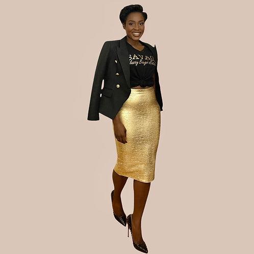 Gold Metallic Pencil Bandage Skirt