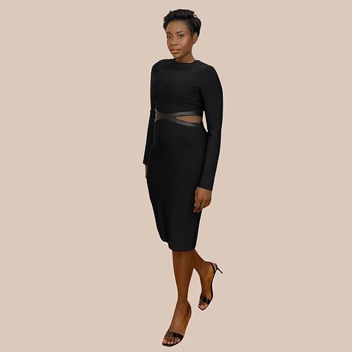 Leather Detail Black Bandage Dress