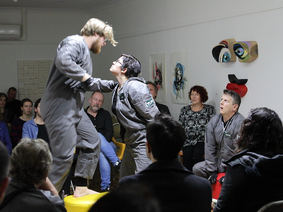 The Play 'Incoming' with audience at close quarters at Curve Gallery