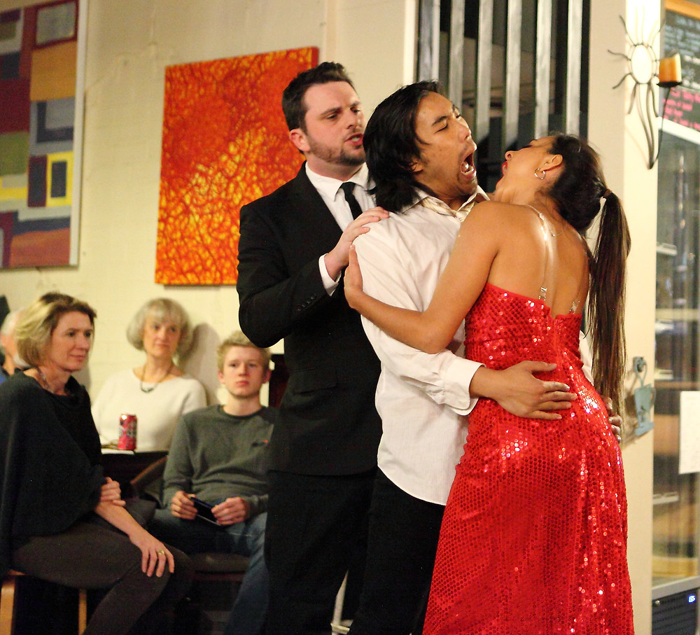 James Chapman, Roger Ly and Stephanie Rochet performing What is About to Happen on the Dance Floor