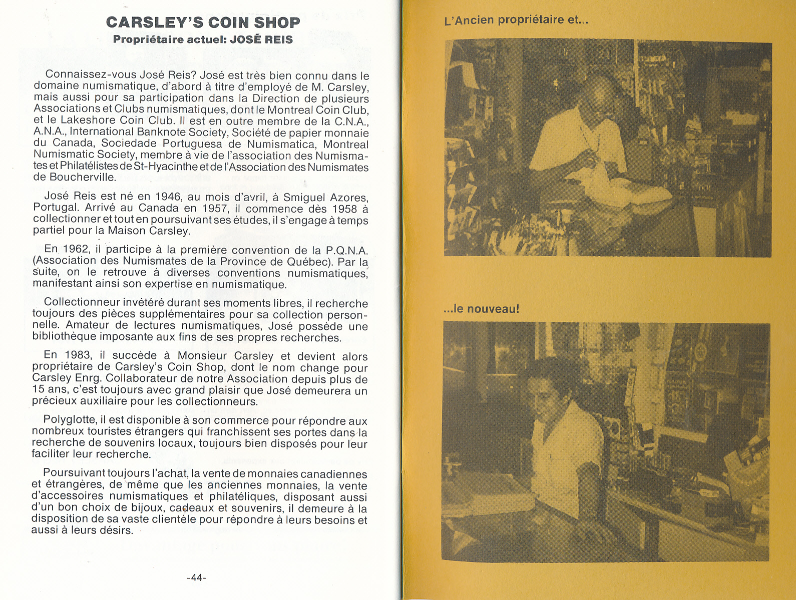 Article about/sur Carsleys 1970's