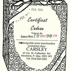1990's Carsleys Gift Certificate/Certificat Cadeau