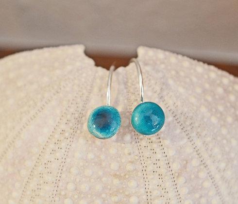 Petites boucles rondes Turquoise en Argent