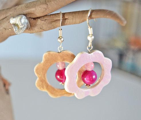 Boucles Fleur Rose et Café réversibles en Argent