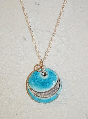"""Collier Turquoise """"lune noire"""" en Argent"""