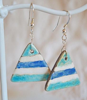 Boucles Triangle Bleu et Blanc en Argent