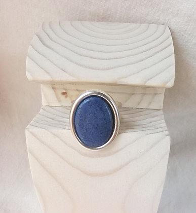 Bague Bleu Ovale en Argent