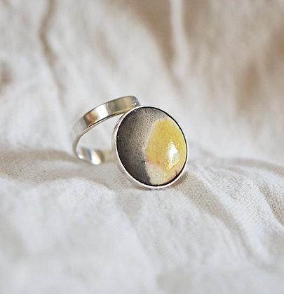 Bague Lune noire et dorée en Argent