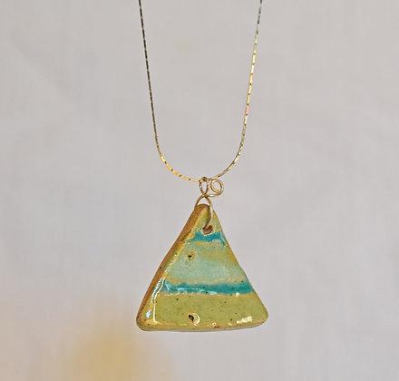 Collier Triangle Vert en Argent
