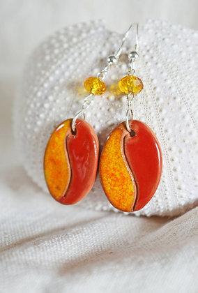 Boucles Rouges et Oranges en Argent
