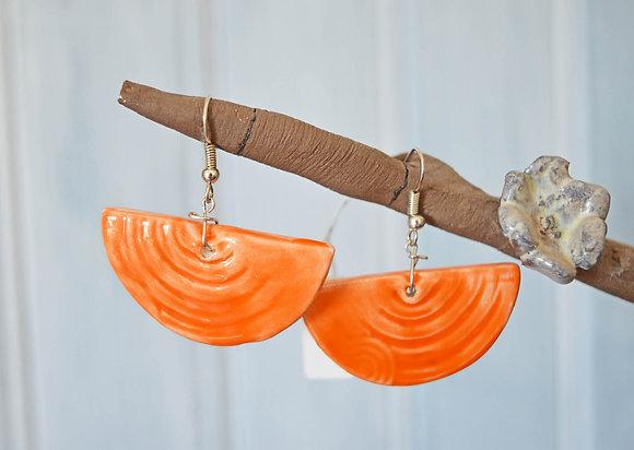Boucles Demi-cercle Orange en Argent