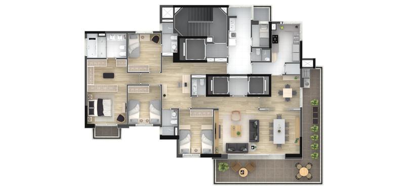 Tipo 226,5m² - 4 Dorms.