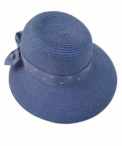 Sombrero pamela azul anclas