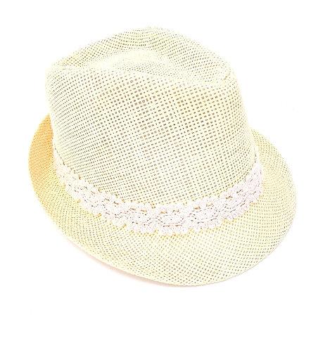 Sombrero amarillo encaje