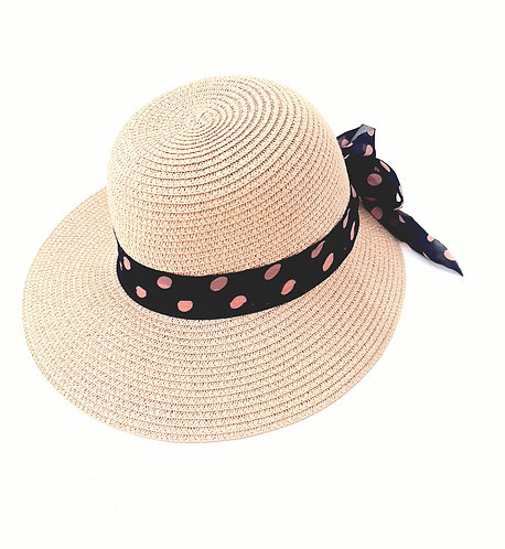 Sombrero pamela rosa cinta lunares