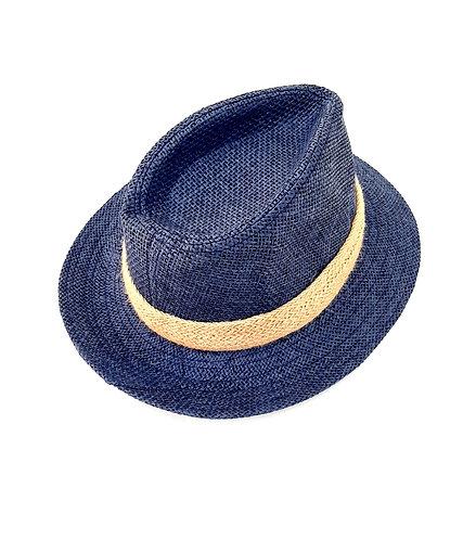 Sombrero azul cinta beis