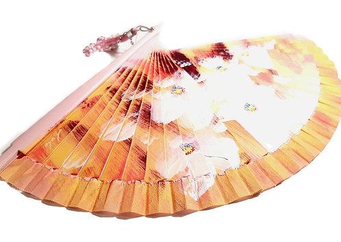 Abanico artesano Flores Rosa