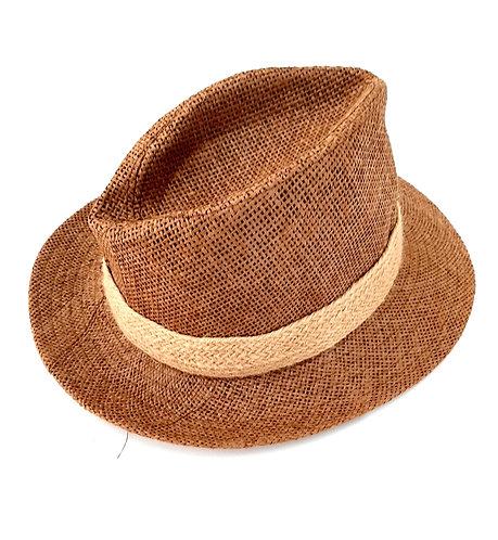Sombrero marrón cinta beis