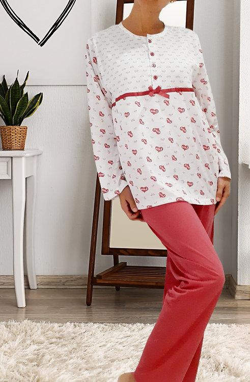 Pijama Corazones rosa palido