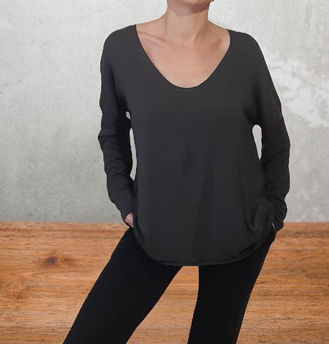 Jersey algodón  fino cuello pico