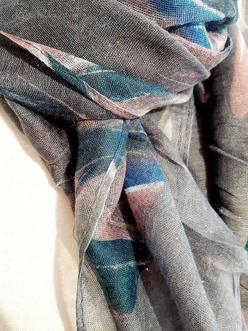 Pañuelo gris y rosa  M194