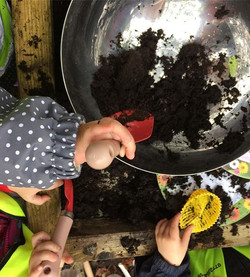 Busy muddy hands from our session yesterday #mudkitchen