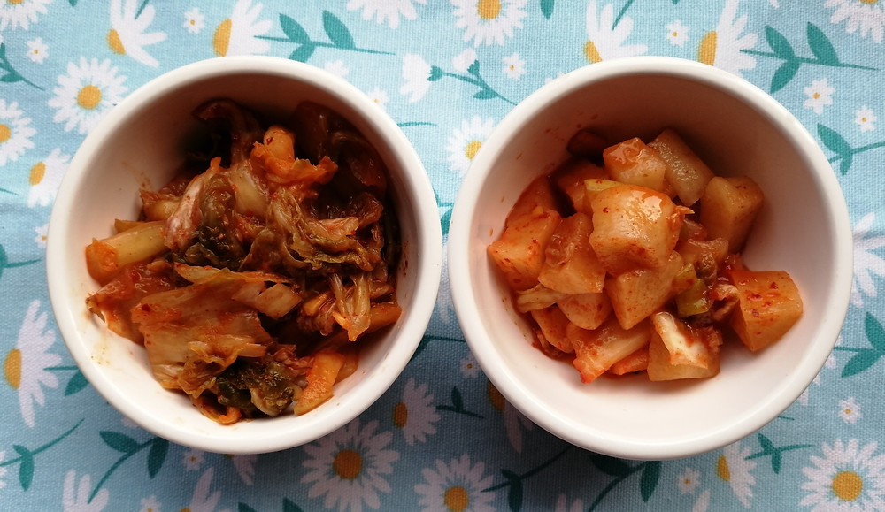 Napa Cabbage Kimchi and Radish Kimchi