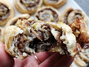 Walnut & Cinnamon Puff Pastry Rolls with Lemon Icing (Quick & Easy Vegan Recipe)