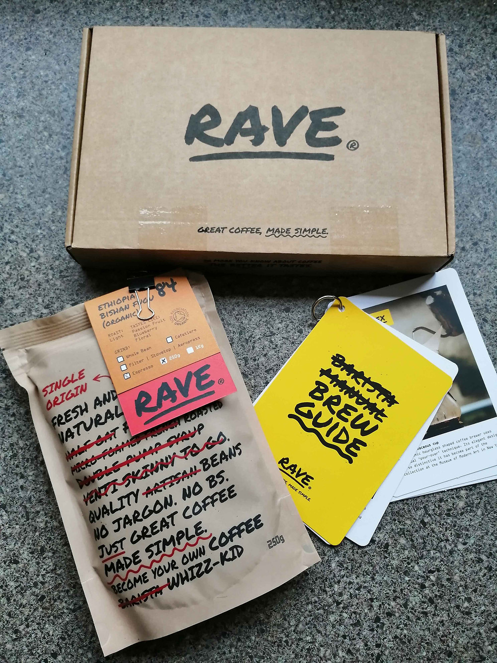rave coffee subscription box contents