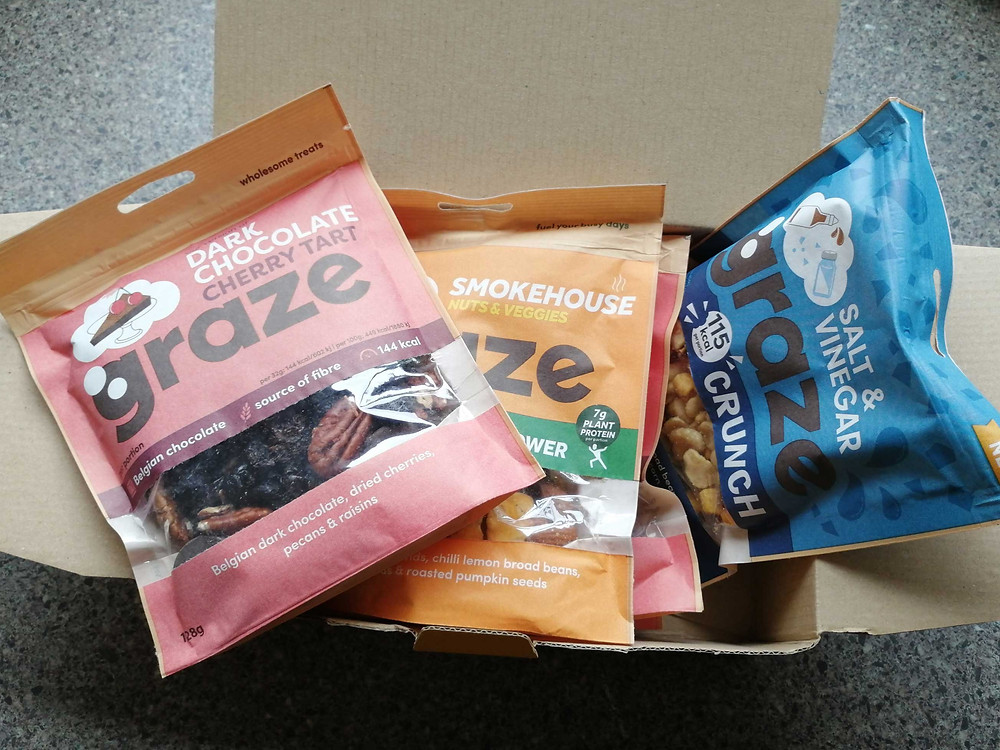 box containing graze sharing bags