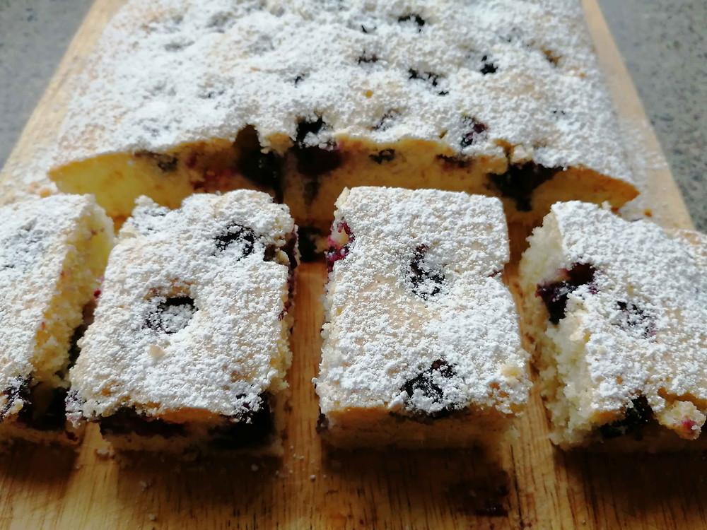Blueberry cake sliced