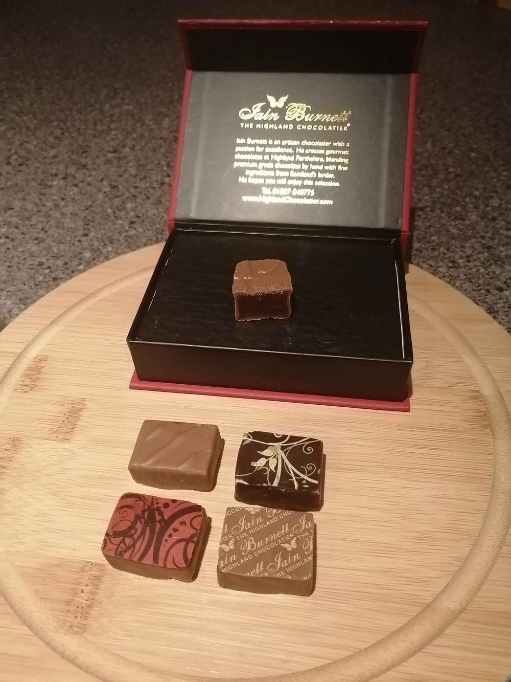 a box of Iain Burnett's handmade chocolates