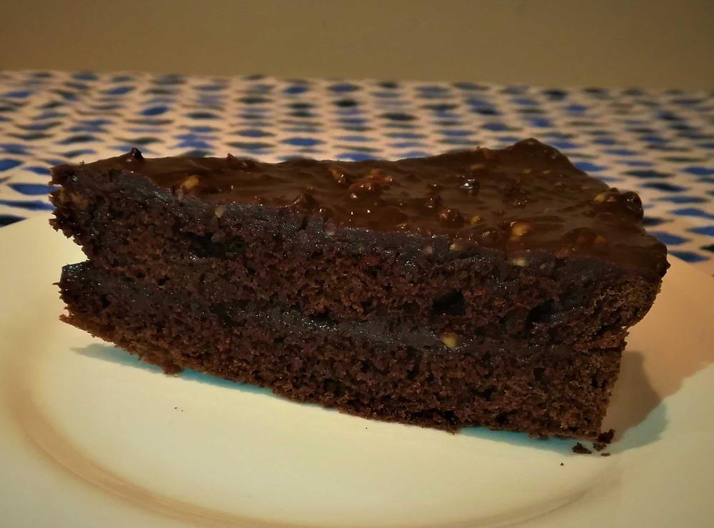 slice of homemade chocolate cake