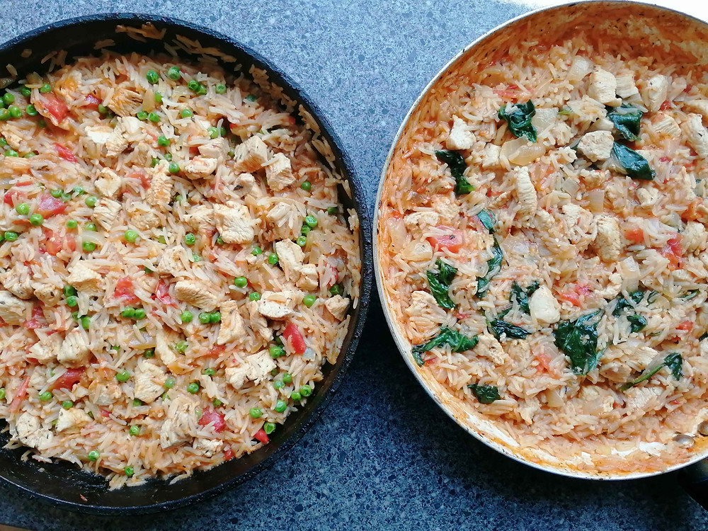 Paella-Style Rice with spinach or peas