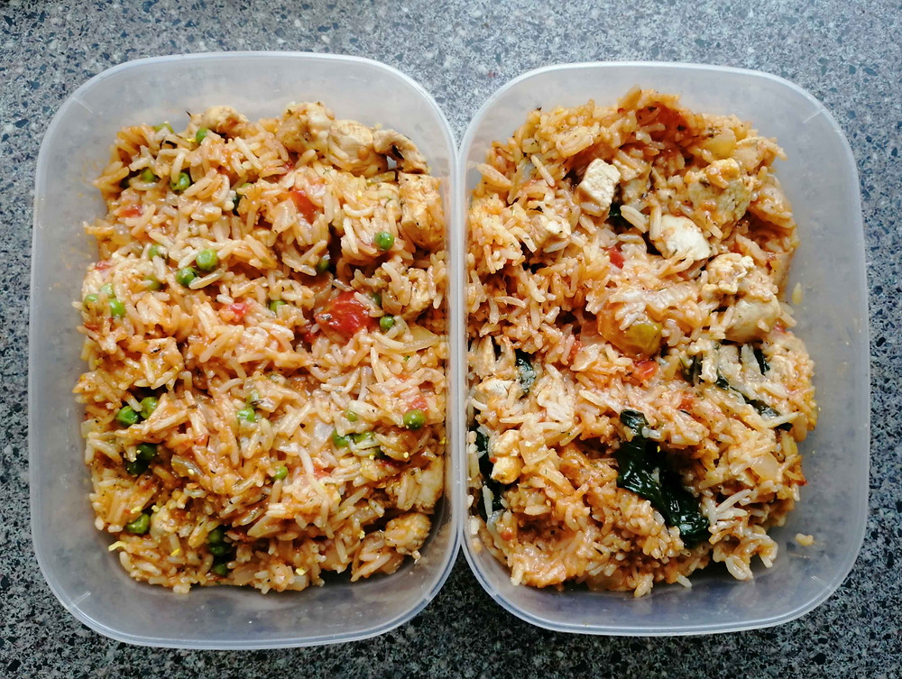 paella-style rice meal prep