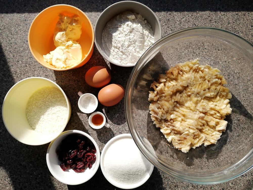 Coconut & Cranberry Banana Bread ingredients