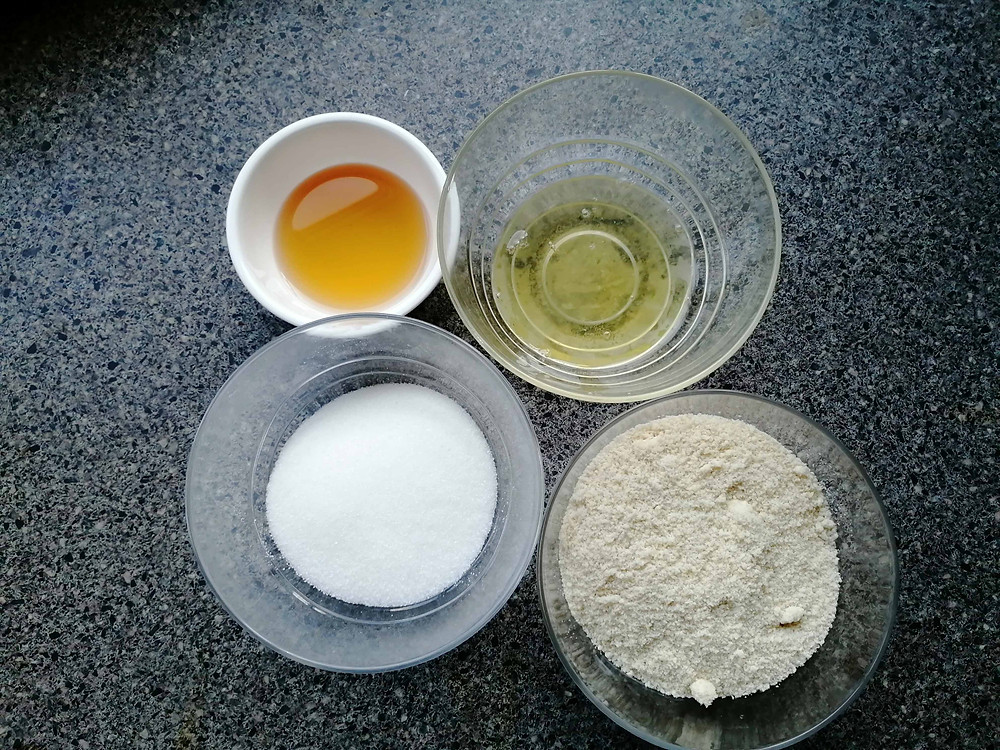 Ingredients for almond cookies