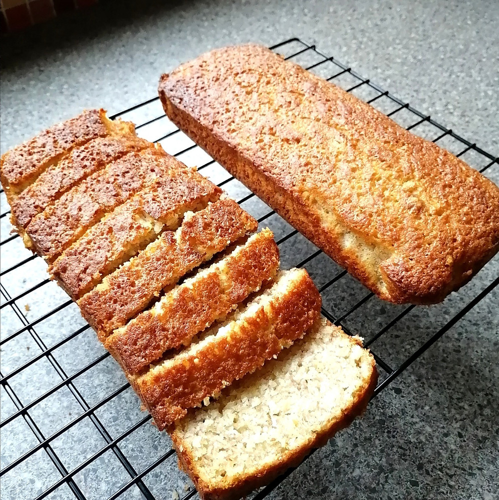 Coconut & Cranberry Banana Bread loaves made with sunflower oil