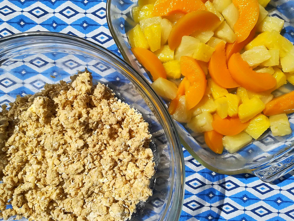 Peach and Pineapple pieces and oat crumble