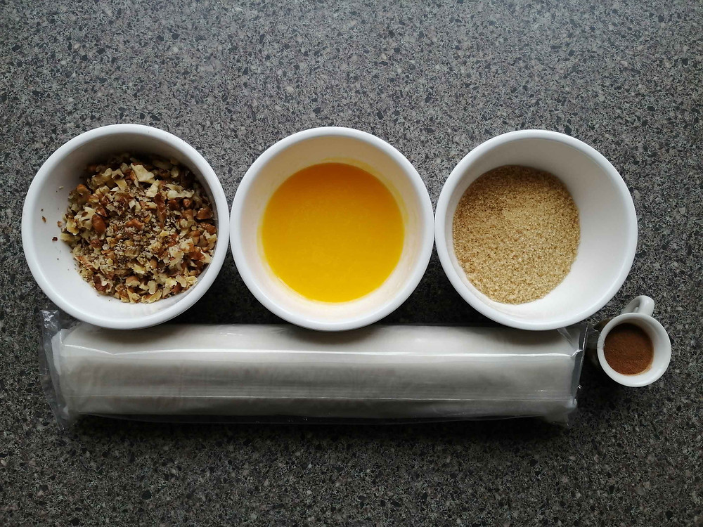 ingredients for Cinnamon and Walnut puff pastry rolls